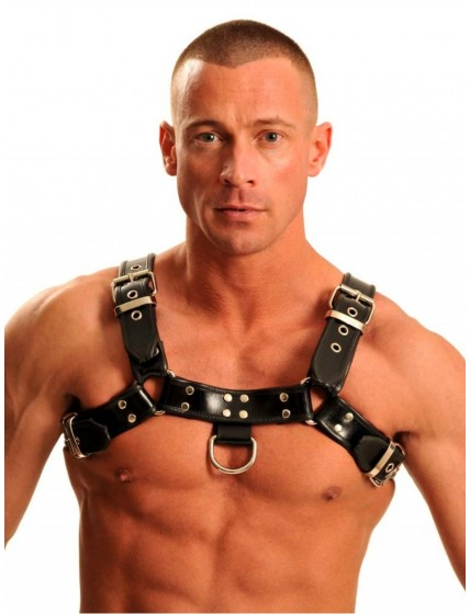Leather Chest Harness • Black-Metal