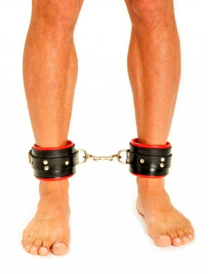 Fist Leather Ankle Cuffs • Red/Black